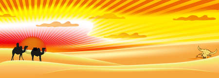 red sun: red sun and sky desert panorama design Illustration