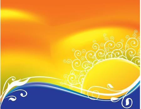 golden dusk: abstract sun floral background Illustration