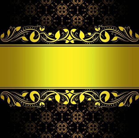 floral swirls: gold frame floral vector