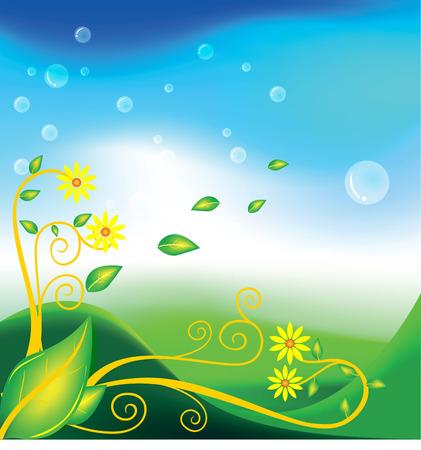 rimmed: green leaf flower floral Illustration