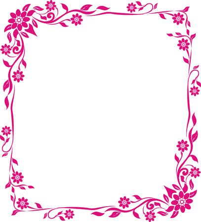 pink flower floral frame Vectores