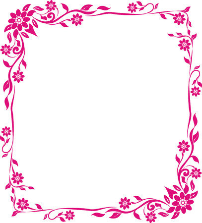 pink flower floral frame Illustration