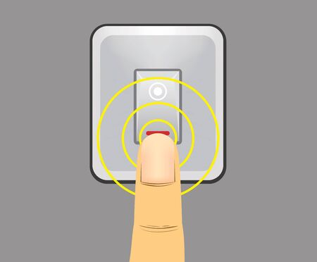 switch on the light: dedo humano interruptor de la luz empujando favor