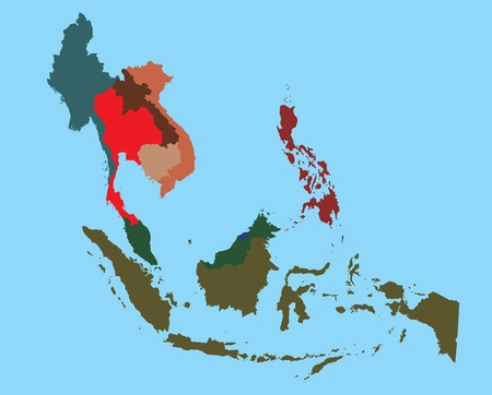 south asia: Map of South East Asia split color country