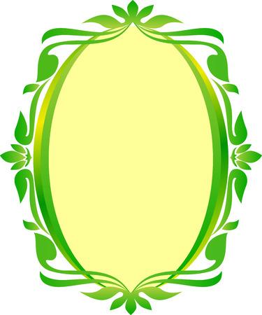 vintage leaf: green gold oval frame floral wedding