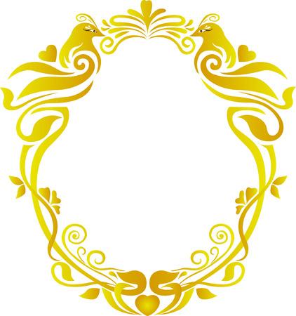 wedding gold oval frame floral Illustration