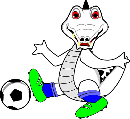 playing soccer: white Crocodile playing soccor Illustration