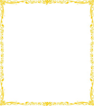 gold frame floral vector
