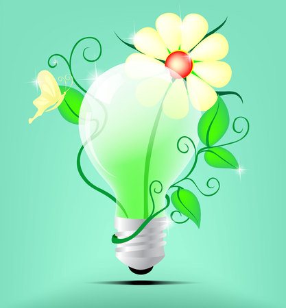 flower lamp: green floral flower lamp paper object vector design