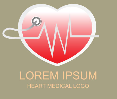 Heart medical logo and sign Illustration