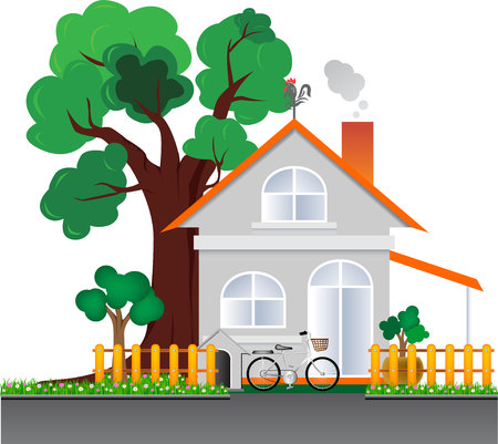 family units: House concept design vector and tree old vector object Illustration
