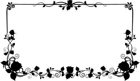 flower rose: silhouette Frame flower Rose and Heart vector black and white Illustration