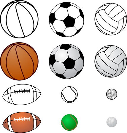 Silhouettes collections of sports balls design and color colection balls Vettoriali