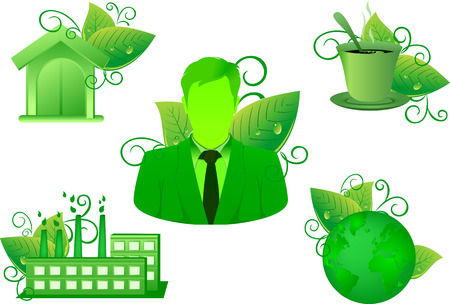 coffee leaf: green Environment Nature leaf icon set have business home coffee and industrial factory vector green