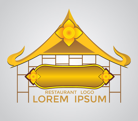 gold house: gold restaurant logo symbol abstract design, thai and japan style