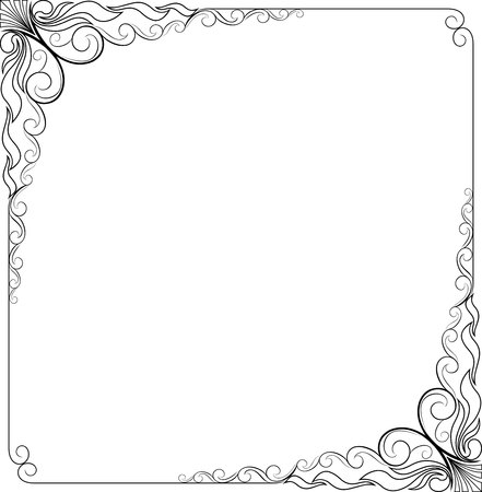 frame floral black and white line art