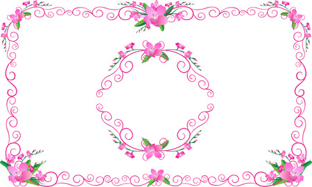 pink orchid: pink Orchid frame floral flowers set for wedding