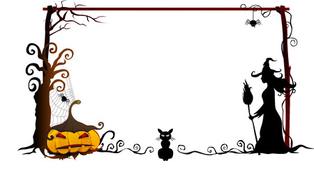 halloween tree: Halloween frame vector Illustration