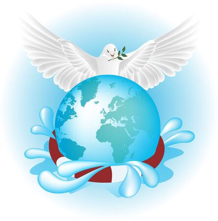 helps: White pigeon, dove helps flooded world, vector Illustration