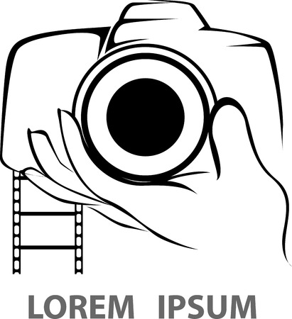 Abstract camera logo. Vector logotype design. photo logo black and white