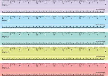 カラフルな定規、ミリメートル、センチメートル、インチのベクトルを設定