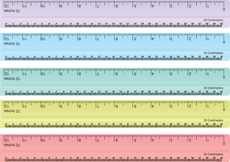 centimeters: vector set of colorful rulers, millimeters, centimeters and inches