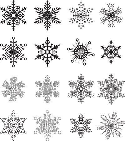 verschnörkelt: Schneeflocke-Sammlung Vektor- Illustration