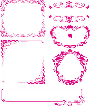 swirl border: Vector set of decorative horizontal elements, border and frame pink. Basic elements are grouped.