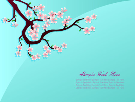 nus: Sakura pink flower in bluebackground vector text design Illustration