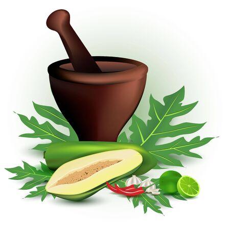 papaja sałatka z moździerza i składników