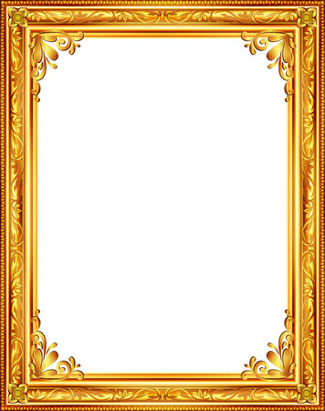 vintage wall: gold frame louis picture vector abstract design
