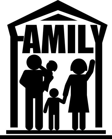black family: Family silhouettes design black and white