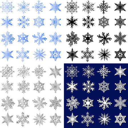 gray scale: Snowflakes icons concept on black and white background, blue screen and gray scale Illustration