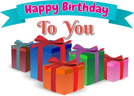 text box: happy birthday to you, gift box full colors, text on ribbon blue,