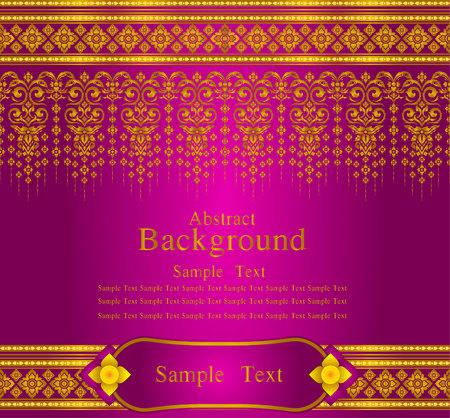 Oro y magenta tailandés línea de patrón de seda de diseño vectorial de fondo del texto Foto de archivo - 48039861