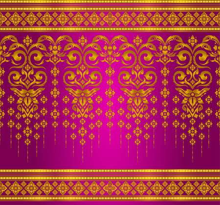 gold and magenta thai silk pattern line vector design for text background Zdjęcie Seryjne - 48039899