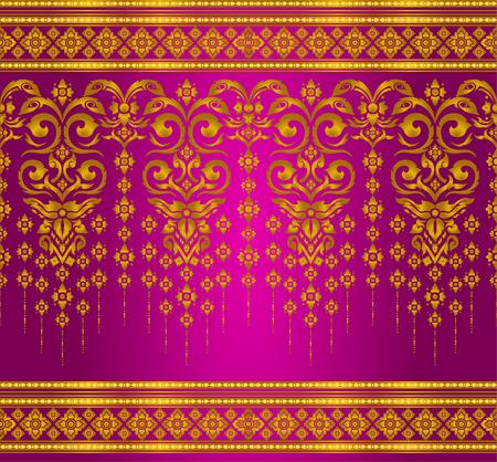 seta thailandese: gold and magenta thai silk pattern line vector design for text background