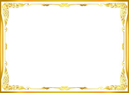 gold photo frame floral vector for picture Imagens - 48039862