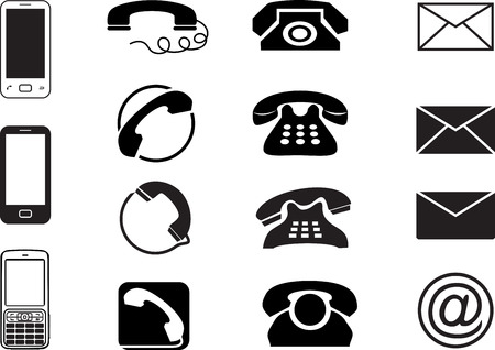 get in touch: email, envelope, phone, mobile icons concept vector design Illustration