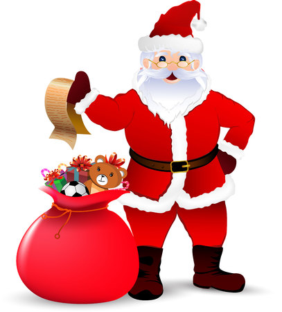 degraded: Happy Santa Claus with sack of gifts
