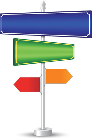 designer label: designer color full label signpost concept, white background