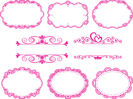 Vintage Label Style Collection, frame floral pink set