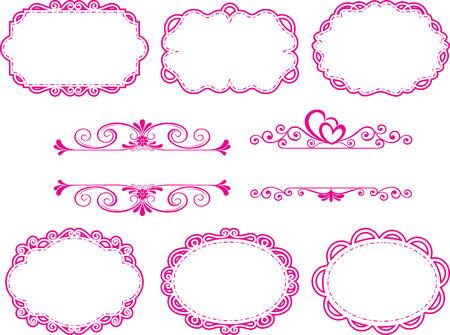 Vintage Label Style Collection, frame floral pink set