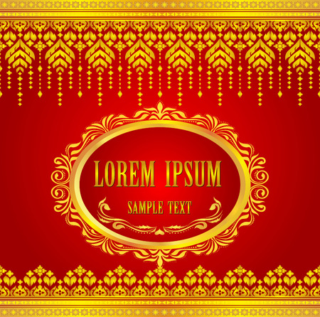 thailand art: Gold and red thai silk pattern line vector design for text background   Illustration