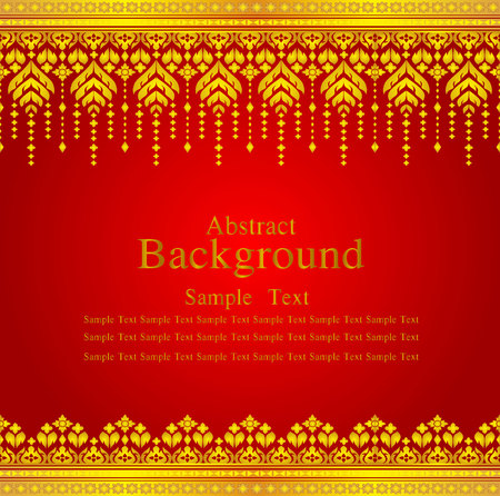 seta thailandese: Gold and red thai silk pattern line vector design for text background   Vettoriali