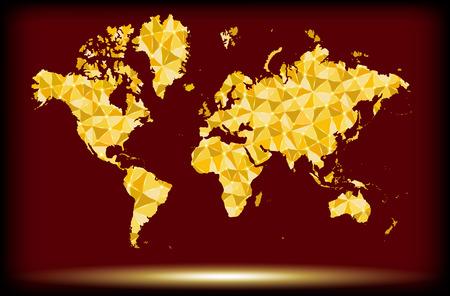 World map of gold glittering stars . Golden Modern elements of info graphics Illustration