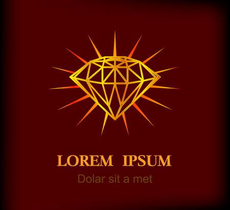 diamond shape on star light background. Vintage element in hipster style, vector illustration.