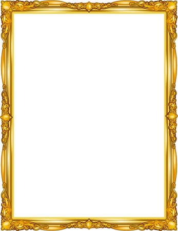 Gold photo frame with corner line floral for picture, design decoration pattern style.frame floral border template,wood frame design is patterned Thai style.frame gold metal beautiful corner. Illustration