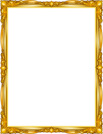 Gold photo frame with corner line floral for picture, design decoration pattern style.frame floral border template,wood frame design is patterned Thai style.frame gold metal beautiful corner. Stock Illustratie