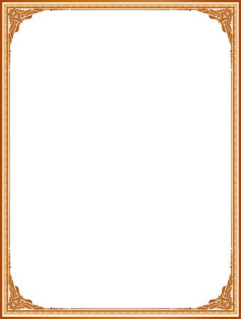 Gold Photo Frame With Corner Line Floral For Picture Design Decoration Pattern Styleframe